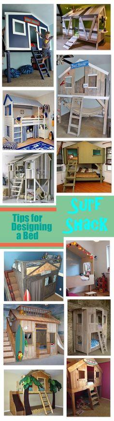 Designing a Surf Shack Bed. Good idea for the little boy...when he gets older!
