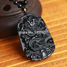 Naturel Noir Riche Agate Silver Dragon Phoenix Collier Pendentif AAA GRADE