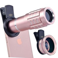 Top Quality HD 12X Telephoto Lens Telescope and 0.45X Wide Angle and Macro Lens for iPhone 7/6S, S7 and More (Pink)