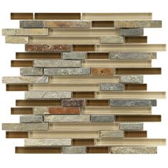 "EliteTile Sierra 11-3/4"" x 11-3/4"" Glass and Stone Piano Mosaic in Brixton 