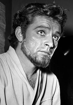 Richard Burton in his dressing room at the Old Vic Theatre, 1953
