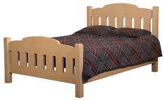 Homestead Bed Assorted sizes. Headboard & Footboard is handmade by the Amish.  Your piece will be built with Premium Grade Eastern White Pine wood.  You will see some deformities and knots that come naturally with eastern pine.