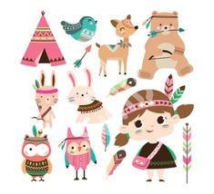 Find Set of cute tribal animals and a little girl in cartoon style stock vectors and royalty free photos in HD. Explore millions of stock photos, images, illustrations, and vectors in the Shutterstock creative collection. Pow Wow Party, Tribal Theme, Teepee Party, Tribal Animals, Fall Birthday, Diy Gift Box, Kids Prints, Drawing For Kids, Nursery Prints