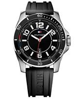 Tommy Hilfiger Men's Black Silicone Strap Watch 46mm 1791046 - Black
