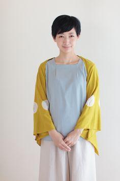 """Flying Squirrel"" Capelet Tabata Tie Dye Mustard : SOU • SOU US Online Store"