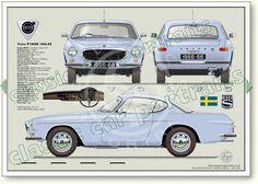 Volvo P1800 1966-68 classic car portrait print