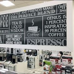 Chalkboard done right can have both an artsy feel as well as a hand-done sense of immediacy like this Coffee & Tea Maker Chalkboard Merchandising. Small Appliances, Hand Lettering, Chalkboard, Boards, Retail, Tea, Canning, Coffee, Inspiration