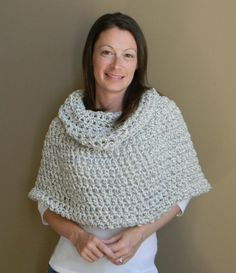 Erin Cowl neck Capelet poncho shawl  grey white by LuckyHanks