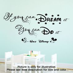 Disney Wall Quote If You Can Dream It you can Do It Wall Quote Mickey Minnie Mouse Wall Art Vinyl Decals Nursery Stickers JR Decal