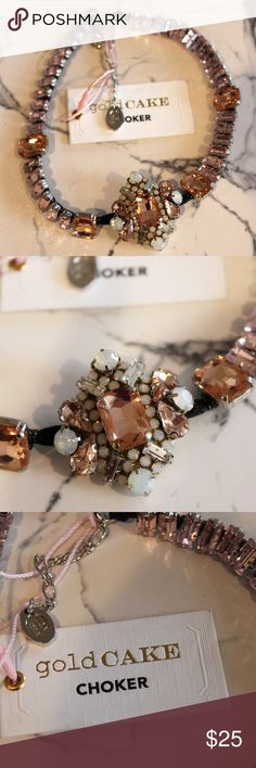NEW Gold CAKE Pink White Jeweled Choker NEW jeweled choker from goldCAKE.  It's got lots of different jewels in pinks and whites.  Backed in black felt.  NEW with original tags.   Made in San Diego. goldCAKE Jewelry Necklaces
