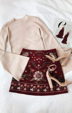 Love this whole outfit - bell sleeves not too big, color & detail of skirt, & earrings