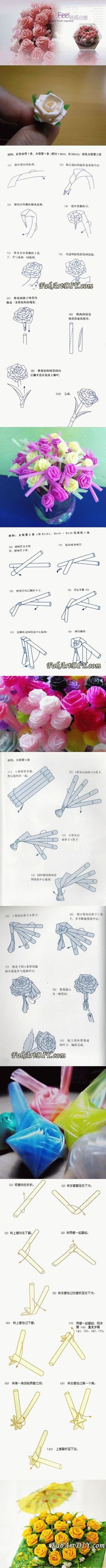 Roses made from drinking straws
