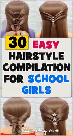 30 simple hairstyles for school girls! 30 simple hairstyles for school girls! Easy Hairstyles For School, Little Girl Hairstyles, Popular Hairstyles, Up Hairstyles, Pretty Hairstyles, Simple Hairstyles, Amazing Hairstyles, Hear Style, Hair Remedies For Growth
