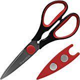 Razor Sharp Kitchen Shears - Best Multi-Purpose Scissors - Soft Grip Handles - Free Magnetic Sheath - Perfect for Both Kitchen & Home Use (Red/Black)