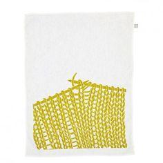 Maya Muse Textiles - Knitting Tea Towel - Chartreuse on White