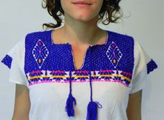 Mexican Top Blouse Blue Color Comfortable by madeintechnicolor, $19.00
