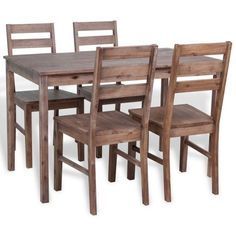 Wooden Dining Set Table And 4 Chairs Solid Acacia Wood Kitchen Room Furniture