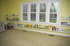 rain gutter book shelves by KellyPrizelPhoto, via Flickr