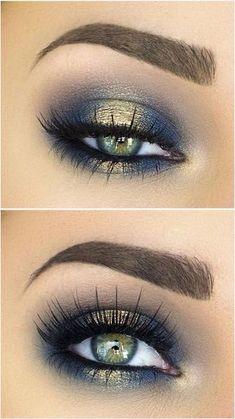 Blue and gold eyeshadow. #goldeyeshadows