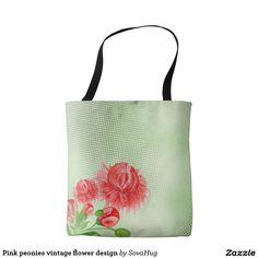 Pink peonies vintage flower design tote bag