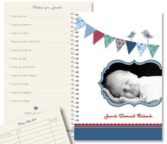 Have friends and family fill in a series of fun and meaningful wishes for the new baby. This is one very special gift for a Baby Shower Baby Journal, Personalized Stationery, Baby Party, Macaroons, Bunting, Special Gifts, New Baby Products, Baby Shower, Journals