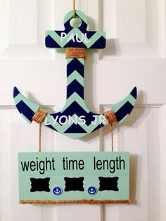 It's a boy anchor baby hospital door hanger sign chevron nursery  announcement hanger.