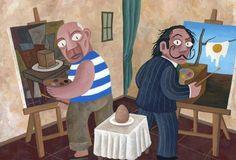 Picasso y Dalí pintando un huevo.