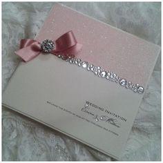 Glitter invitation wiith diamonte border