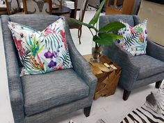 Fiji cushions in white, on chairs upholstered in Atlantic in colour, deep ocean.  www.whatnot.co.za Fiji, Upholstered Chairs, Tub Chair, Accent Chairs, Cushions, Ocean, Deep, Throw Pillows, Colour