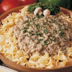 Hamburger Stroganoff Recipe but instead of chicken soup use a carton of beef broth it will thicken.  So much better than the Hamburger Helper version.