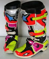 Hand Painted Motocross Boots #116 ~ Helmets4Fun -
