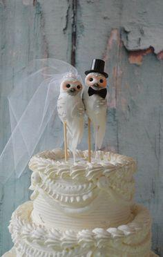 Owls wedding cake topper-Barn owls cake by MorganTheCreator