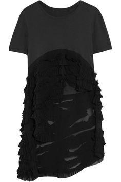 HAIDER ACKERMANN Ruffled Cotton-Jersey And Silk-Georgette T-Shirt. #haiderackermann #cloth #tops