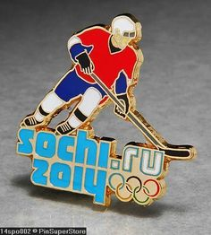 OLYMPIC PINS BADGE 2014 SOCHI RUSSIA CUT OUT SPORT OF ICE HOCKEY PLAYER (GOLD)