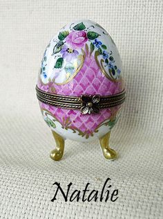 NATALIE Painted Eggs  AF Limoges Boxes Hand painted Porcelain from Limoges, France.