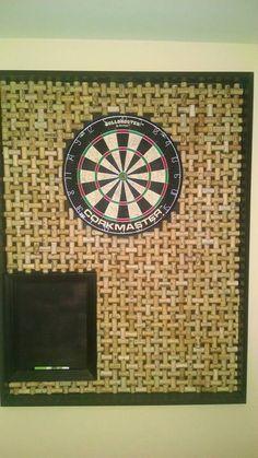 Wine cork basket weave dart board.