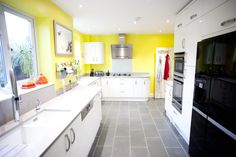 A beautiful White Gloss Curved Kitchen which has been brightened up with sunny yellow walls! German Kitchen, Bespoke Kitchens, Yellow Walls, Kitchen Design, Kitchen Cabinets, Beautiful, Home Decor, Decoration Home, Design Of Kitchen