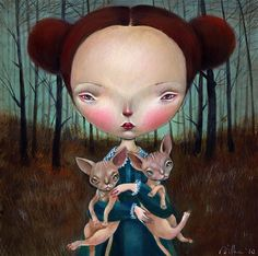 Dilkathebear aka Dilka Bear is known on Flickr as an extremely talented artist from Trieste, Italy. Her illustrations recreate a world of daydreams complete with woeful little girls and their strange, little pets. I love how the girls' vulnerable faces are beautiful yet unsettling. Dilkathebear's work is a feast for the eyes, mind and soul.Here is a work in progress:Dilkathebear's Behance Portfolio
