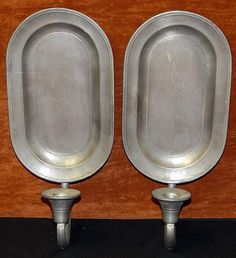 Pair Vintage Colonial Casting Co Pewter Wall Sconces Candle Holders Primitive | eBay