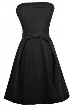 Black Strapless Dress, Little Black Dress, Black Party Dress, Black A-Line Dress, Black Bow Dress, Black Cocktail Dress