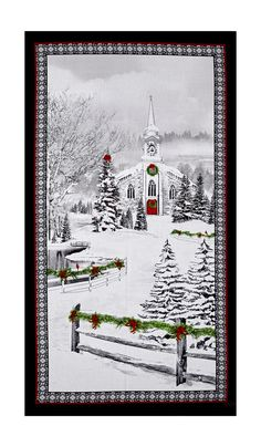 "Christmas Deer Tree Snow Scenic Cotton Fabric RJR Merry Berry Bright 24/"" PANEL"