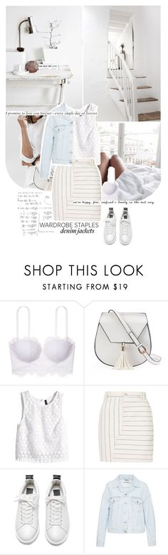 """""""let's wear it - denim jacket."""" by mademoiselledeea ❤ liked on Polyvore featuring Yoki, H&M, Topshop and Acne Studios"""