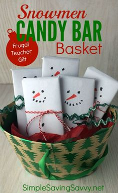 This Snowmen Candy Bar Basket is one of my favorite Frugal Teacher Gifts. This is a gift any teacher would enjoy. The older kids can make it by themselves. T Candy bar basket Christmas Gift You Can Make, Teacher Christmas Gifts, Christmas Crafts For Kids, Simple Christmas, Holiday Gifts, Christmas Decorations, Handmade Christmas, Easy Teacher Gifts, Snowman Decorations