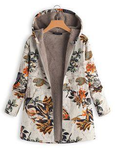Women Faux Fur Hooded Parka Coat Plus Size Floral Print Side Pockets Long Sleeve Warm Vintage Casual Long Coat Outwear Mantel Vintage, Vintage Coat, Vintage Jacket, Coats For Women, Jackets For Women, Clothes For Women, Plus Size Coats, Oversized Coat, Parka Coat