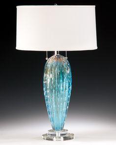 aqua and clear Venetian glass table lamp