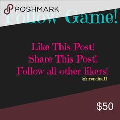 Follow Game ⚠️I DO NOT APPRECIATE THOSE WHO ARE NOT FOLLOWING ALL RULES⚠️ Like this post, Share this post, and follow all fellow likers💕FOLLOW ME TOO❤️ Be sure to tag others! PLEASE DO NOT JUST LIKE, FOLLOW OTHERS, AND SHARE! Bags