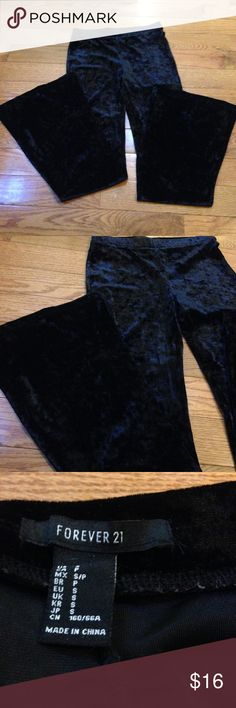 Black Velvety Bell Bottom Pants Forever 21 black velvety bell bottoms in good condition and not lined. High rise and super soft!! Size small. Good condition  Forever 21 Pants Wide Leg