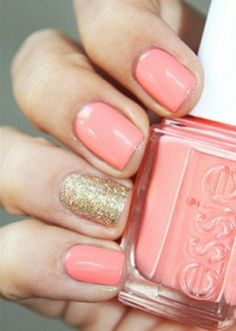 coral and glittering gold wedding nails