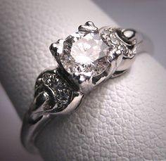 Antique Platinum Diamond Wedding Ring Vintage Art Deco Half Carat.