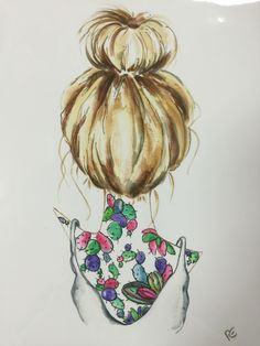 Girl Woman Bunhead Hair Illustration Blonde by PinkPuddleStudio